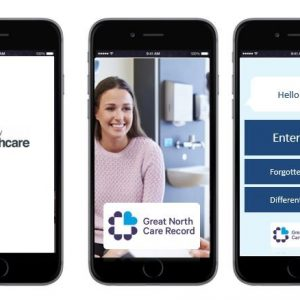 Mock up of the Great North Care Record patient portal